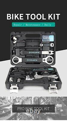 Professional Bicycle Repair Cycling Multitool Kit Box Set Chain Wrench Hex Key