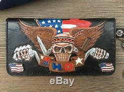 Tooled Biker Leather Wallet/Pro-American/Patriotic/Handmade/Chain Wallet