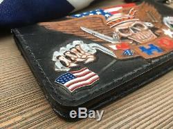 Tooled Biker Porte-monnaie En Cuir / Pro-américain / Patriotique / Main / Chaîne Porte-monnaie